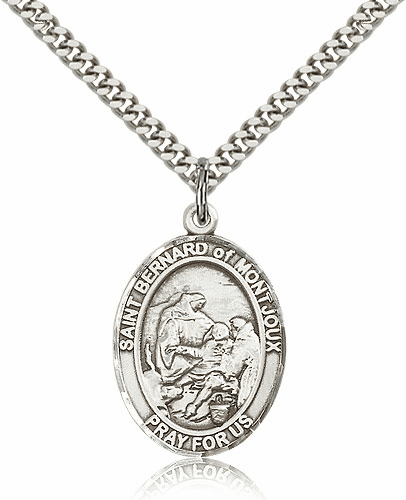 St Bernard of Montjoux Pewter Patron Saint Necklace by Bliss