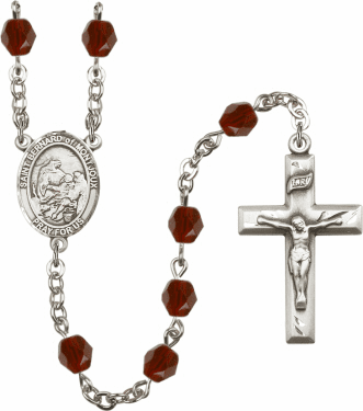 St Bernard of Montjoux Silver Plate Birthstone Crystal Prayer Rosary by Bliss
