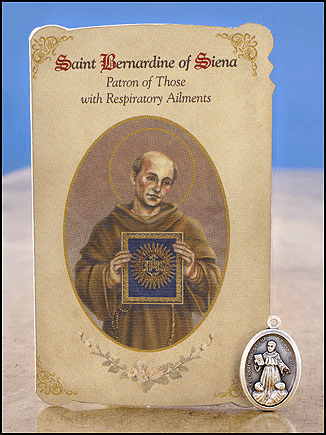 St Bernardine Respiratory Ailments Healing Holy Cards Sets 6 pcs by Milagros