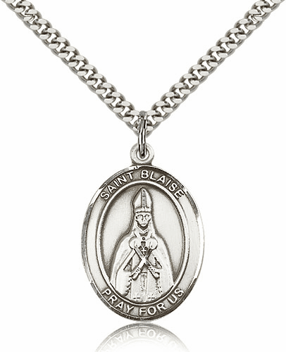 St Blaise Sterling Silver Saint Medal Pendant by Bliss