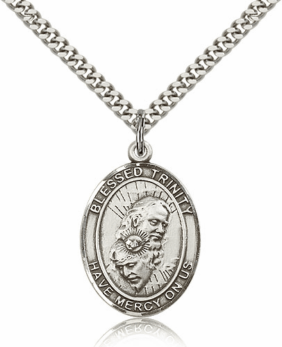 St Blessed Trinity Pewter Patron Saint Necklace by Bliss