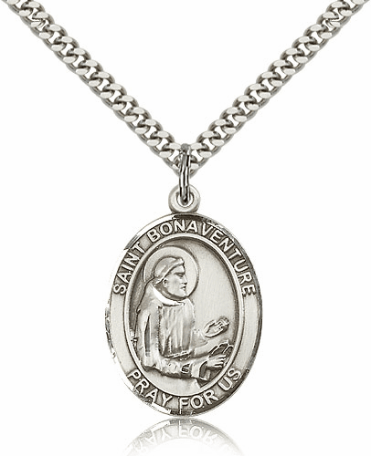 St Bonaventure Sterling Silver Saint Medal Necklace by Bliss Mfg