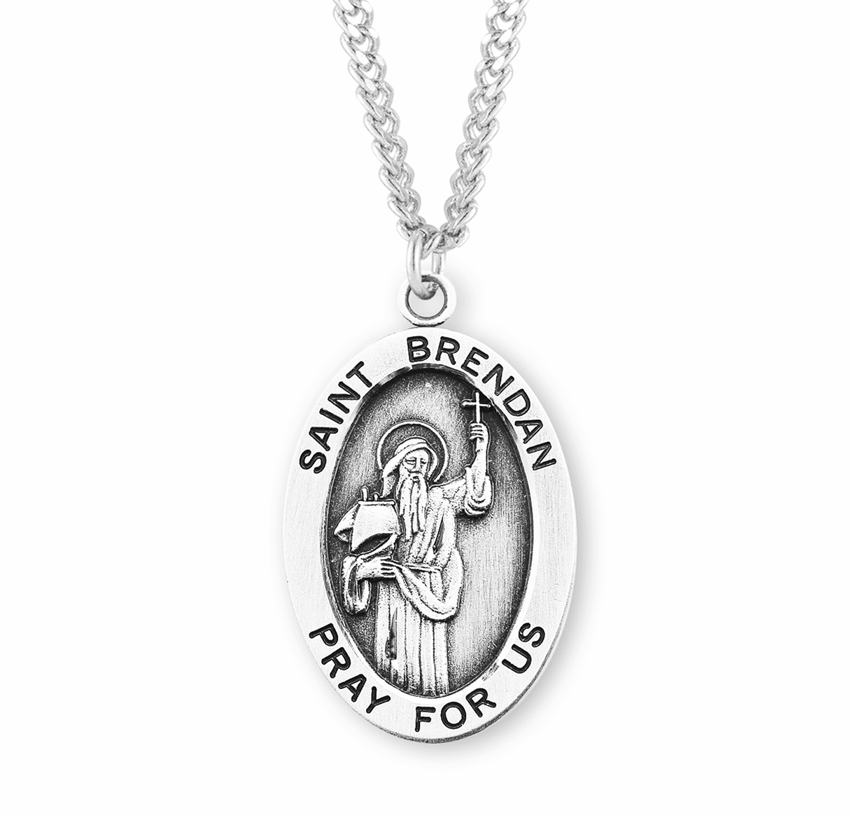 St Brendan Large Oval Sterling Silver Medals by HMH Religious