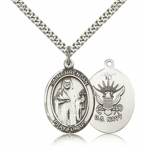 St Brendan the Navigator Navy Silver-Filled Medals by Bliss
