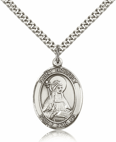 St Bridget of Sweden Patron Saint of Sterling-Filled Saint Medal Necklace by Bliss