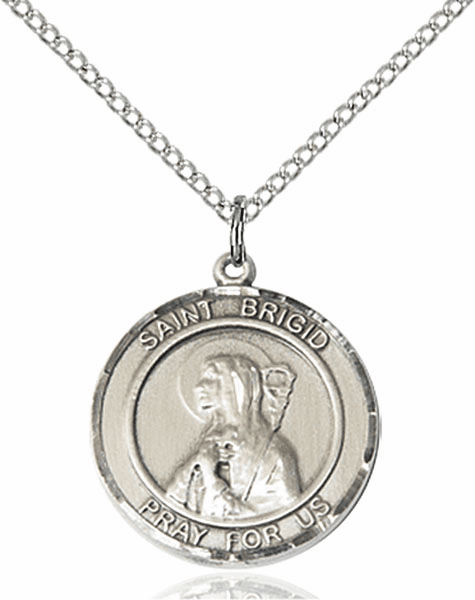 St Bridgid of Ireland Medium Patron Saint Silver-filled Medal by Bliss