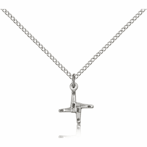 St Brigid Cross Sterling Silver Pendant Necklace by Bliss