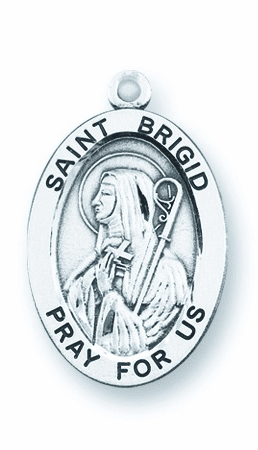 St Brigid Large Oval Sterling Silver Patron Saint Medals by HMH Religious