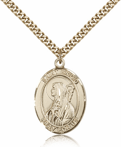 St Brigid of Ireland Gold Filled Patron Saint Medal by Bliss Mfg