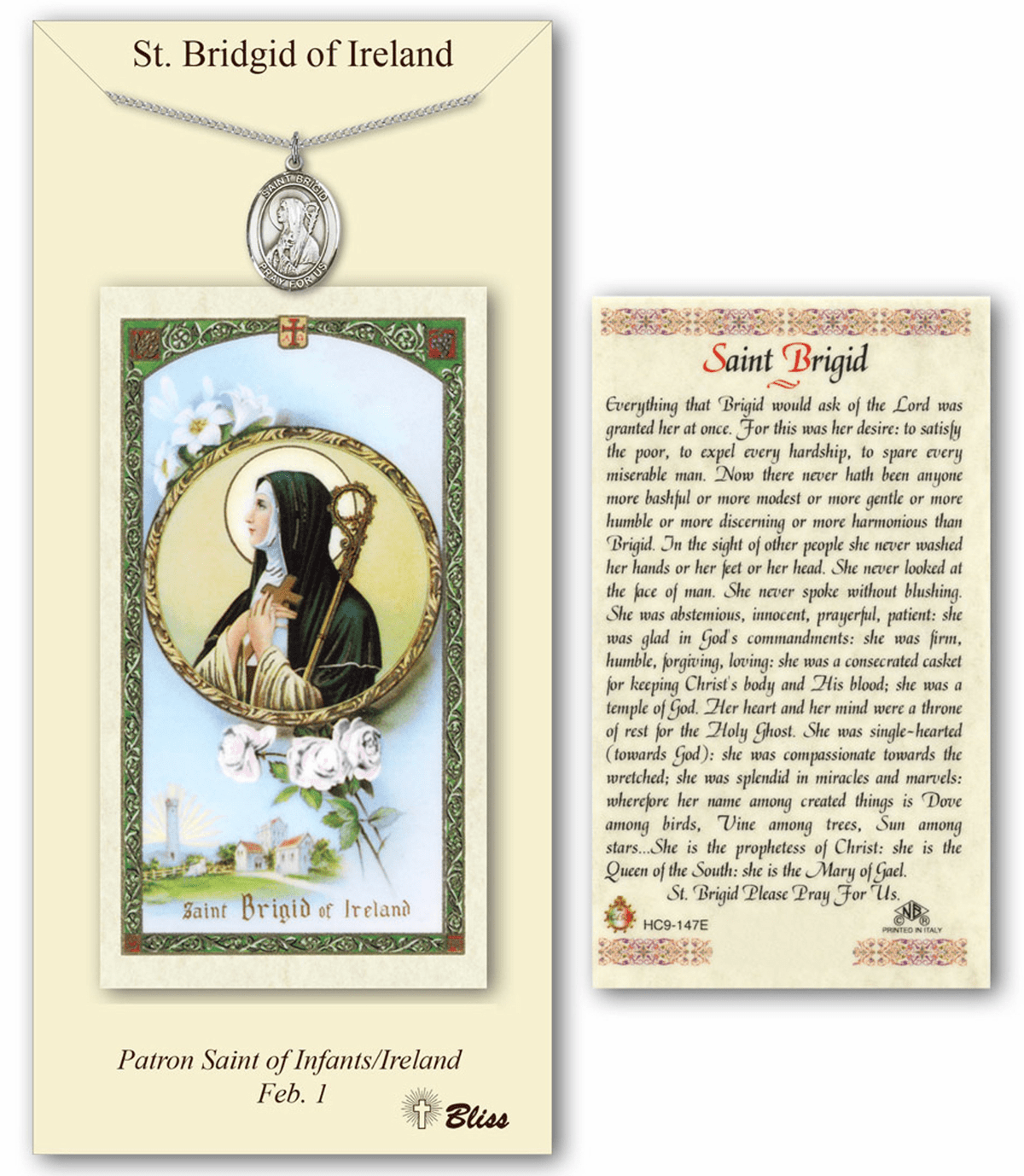 Bliss St Brigid of Ireland Prayer Card & Pendant Gift Set