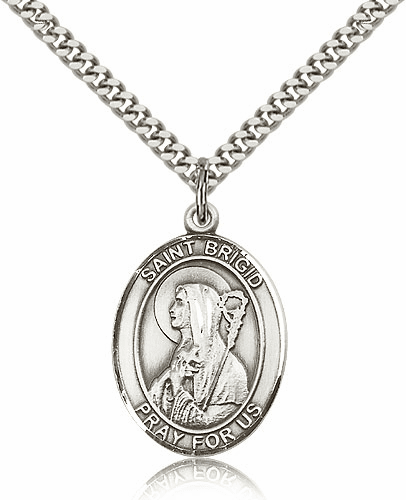St Brigid of Ireland Sterling-Filled Patron Saint of Babies Medal Necklace