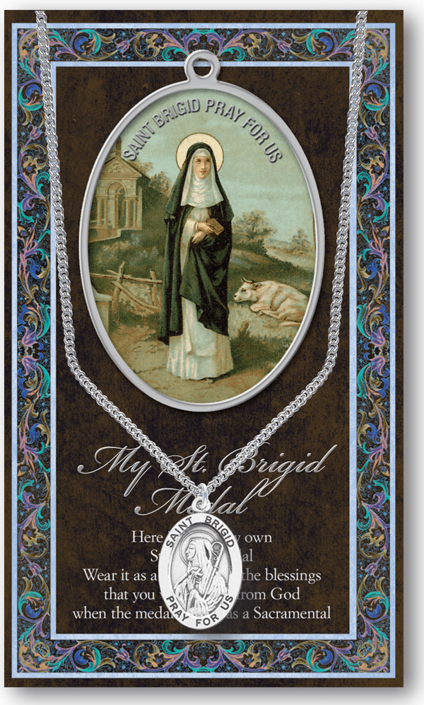 St Brigid Pewter Patron Saint Medal Necklace with Prayer Pamphlet by Hirten