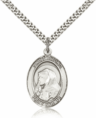 St  Bruno Sterling Silver Saint Medal Necklace by Bliss Mfg