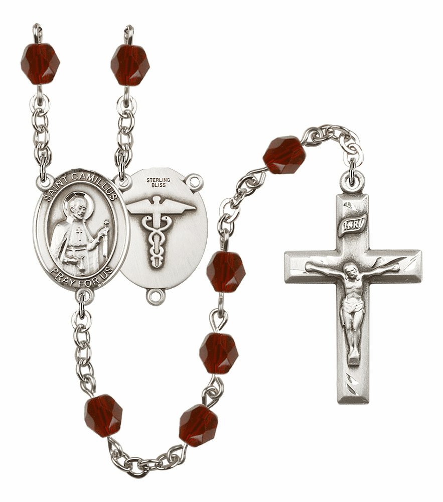 St Camillus of Lellis Nurse Silver Plate Birthstone Crystal Prayer Rosary by Bliss