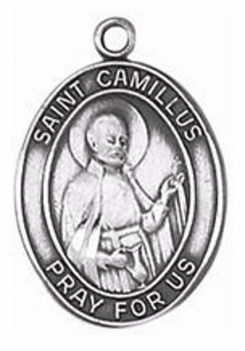 St Camillus of Lellis Oval Sterling Silver Saint Medal by Jeweled Cross