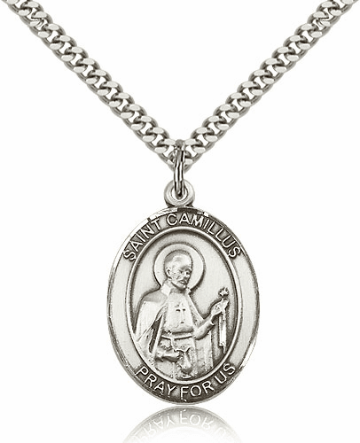 St Camillus of Lellis Sterling Silver Saint Medal Pendant by Bliss
