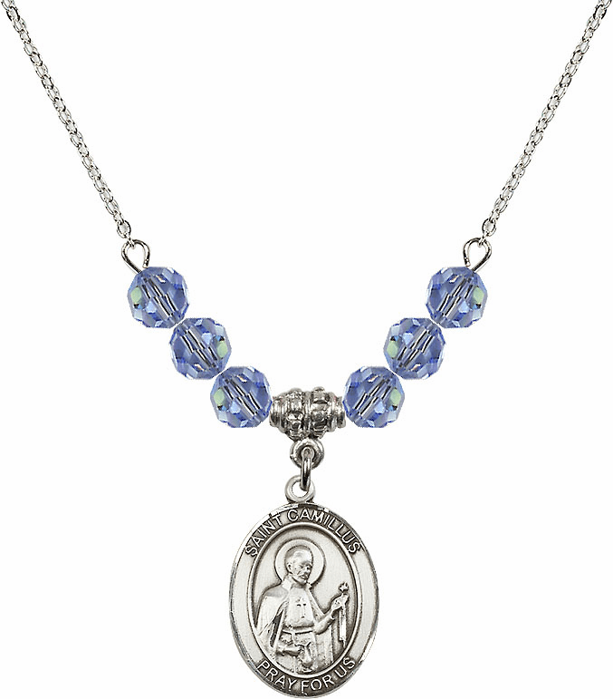 St Camillus of Lellis Swarovski Crystal Beaded Patron Saint Necklace by Bliss Mfg