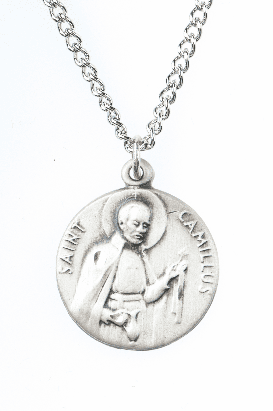 """St Camillus Saint Medal Pendant w/18"""" Chain by Jeweled Cross"""