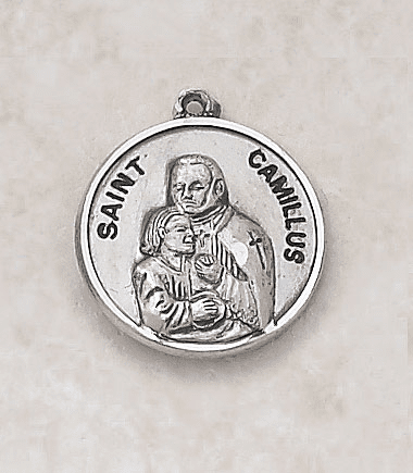 St Camillus Sterling Patron Saint Medal w/Chain by Creed Jewelry