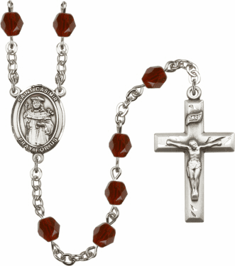 St Casimir of Poland Silver Plate Birthstone Crystal Prayer Rosary by Bliss
