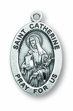 St Catherine Catholic Patron Saint Sterling Silver Medal Necklace