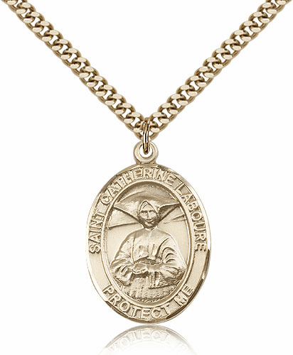 Bliss Manufacturing St Catherine Laboure Gold Filled Saint Medal Necklace