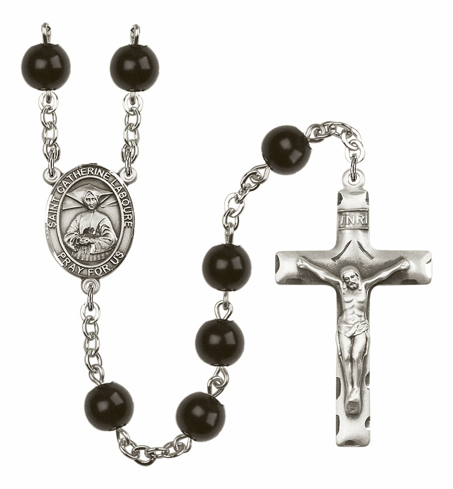 Bliss Mfg St Catherine Laboure Silver 7mm Black Onyx Rosary