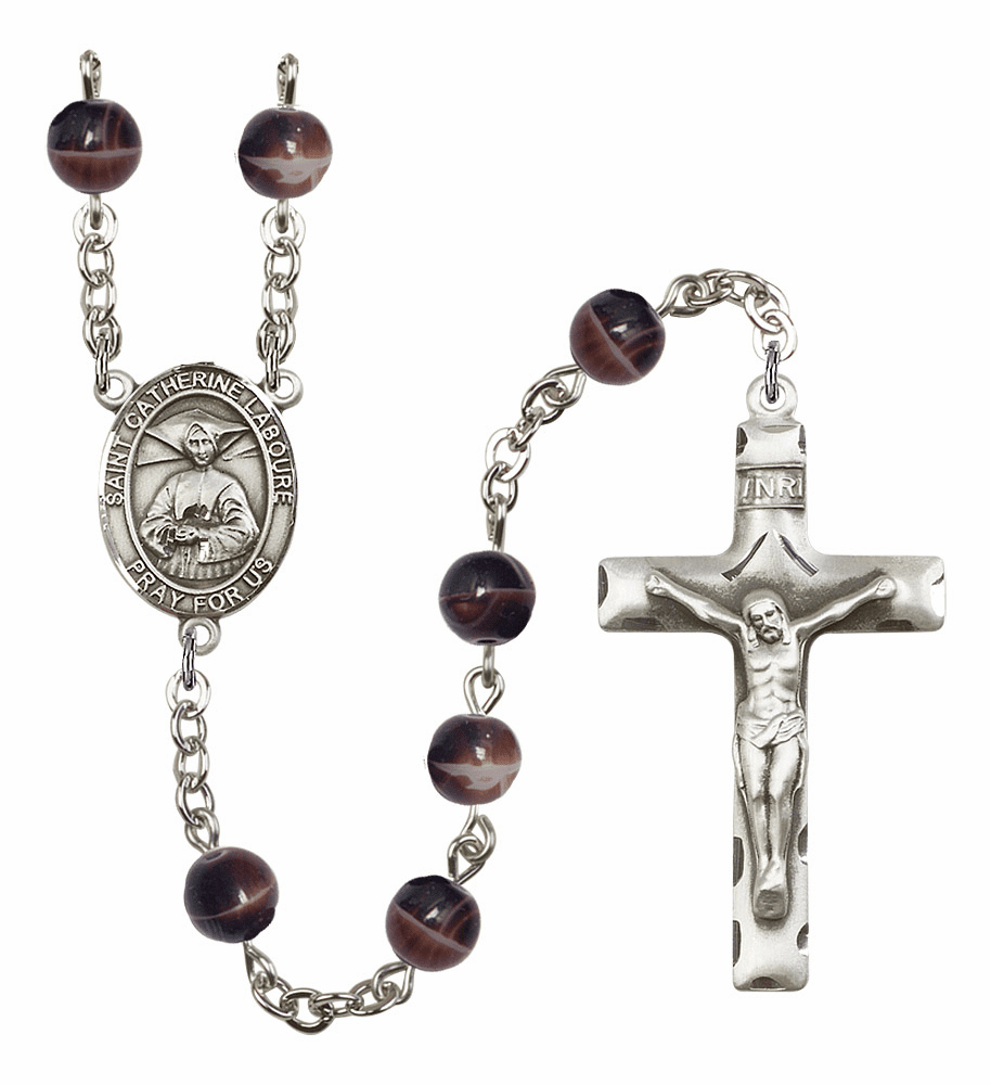 St Catherine Laboure 7mm Brown Gemstone Rosary by Bliss