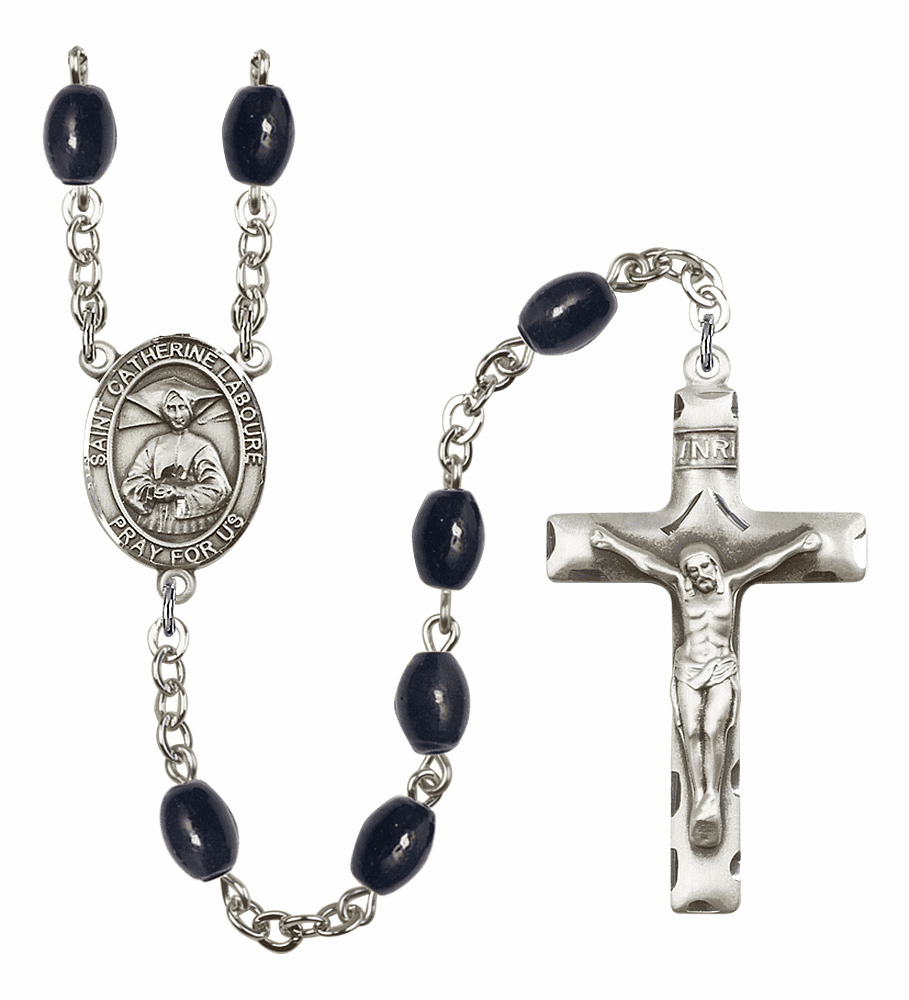 St Catherine Laboure 8x6mm Black Onyx Gemstone Rosary by Bliss