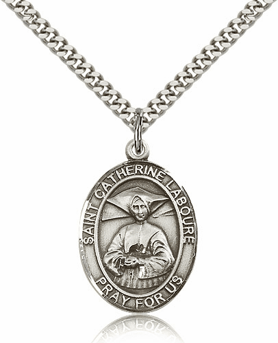 St Catherine Laboure Sterling Silver Saint Medal Necklace by Bliss