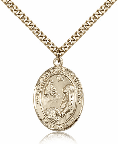 St Catherine of Bologna 14kt Gold Filled Saint Medal Necklace by Bliss