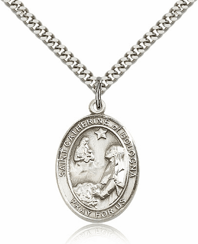St Catherine of Bologna Sterling Silver Saint Medal Necklace by Bliss