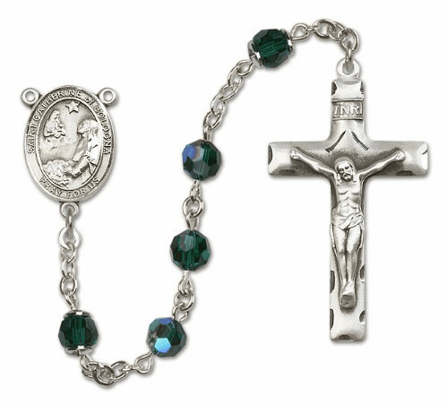 Bliss St Catherine of Bologna Sterling and Gold Crystal Rosary - More Colors
