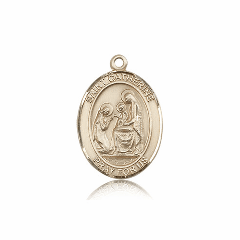 St Catherine of Siena 14kt Gold Saint Medal Pendant by Bliss Mfg