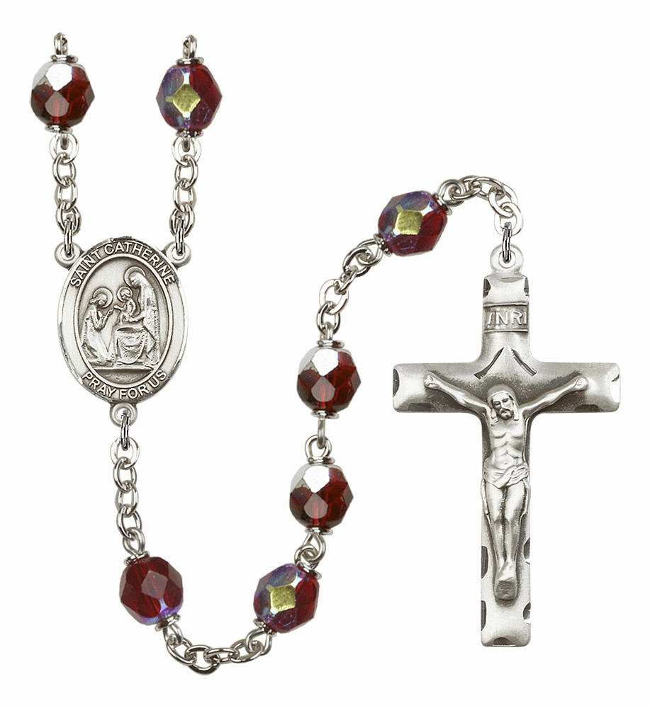 St Catherine of Siena 7mm Lock Link Aurora Borealis Garnet Rosary by Bliss Mfg