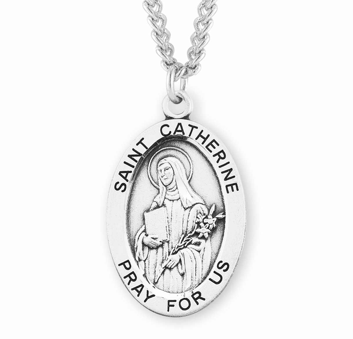 St Catherine of Siena Large Sterling Silver Patron Saint Medal Necklace w/Chain by HMH Religious