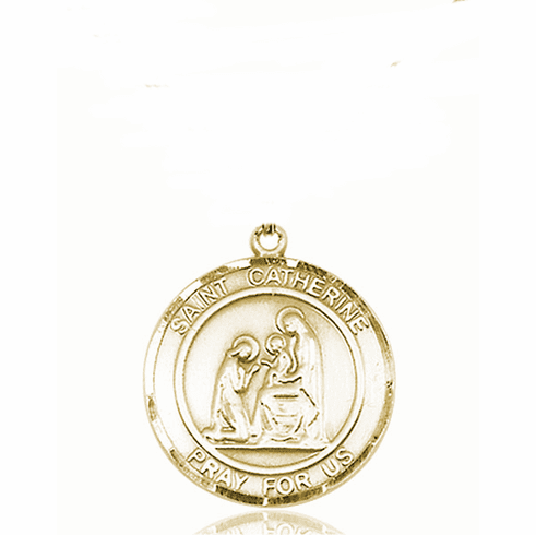 St Catherine of Siena Medium Patron Saint 14kt Gold Medal by Bliss