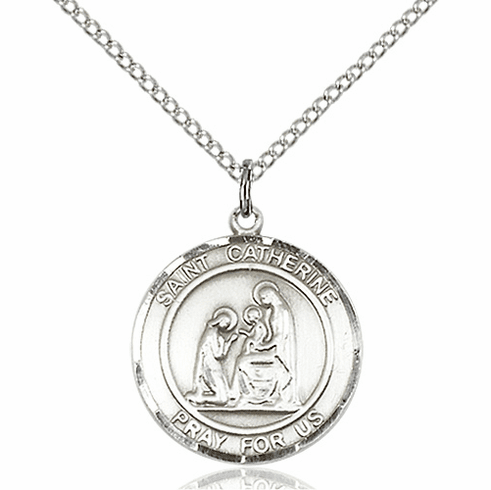 St Catherine of Siena Medium Patron Saint Silver-filled Medal by Bliss