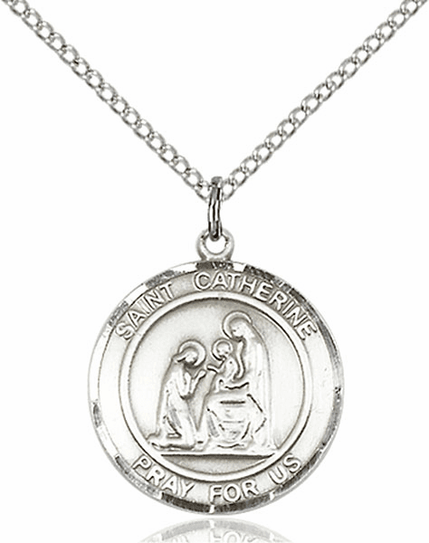 St Catherine of Siena Medium Patron Saint Sterling Silver Medal by Bliss