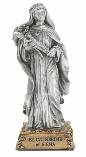 St Catherine of Siena Patron Saint Pewter Statue on Gold Tone Base by Hirten