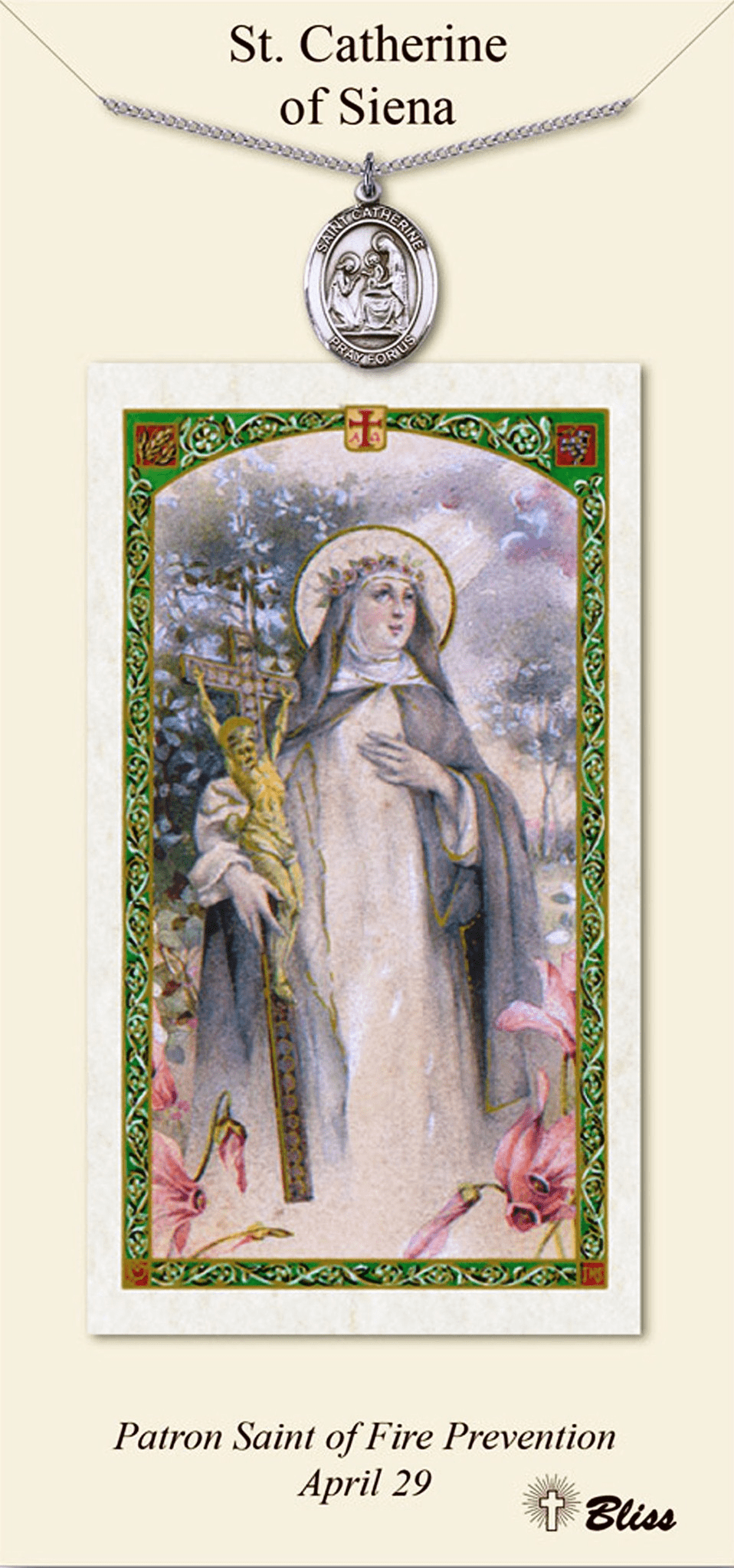St Catherine of Siena Prayer Card & Pendant Gift Set