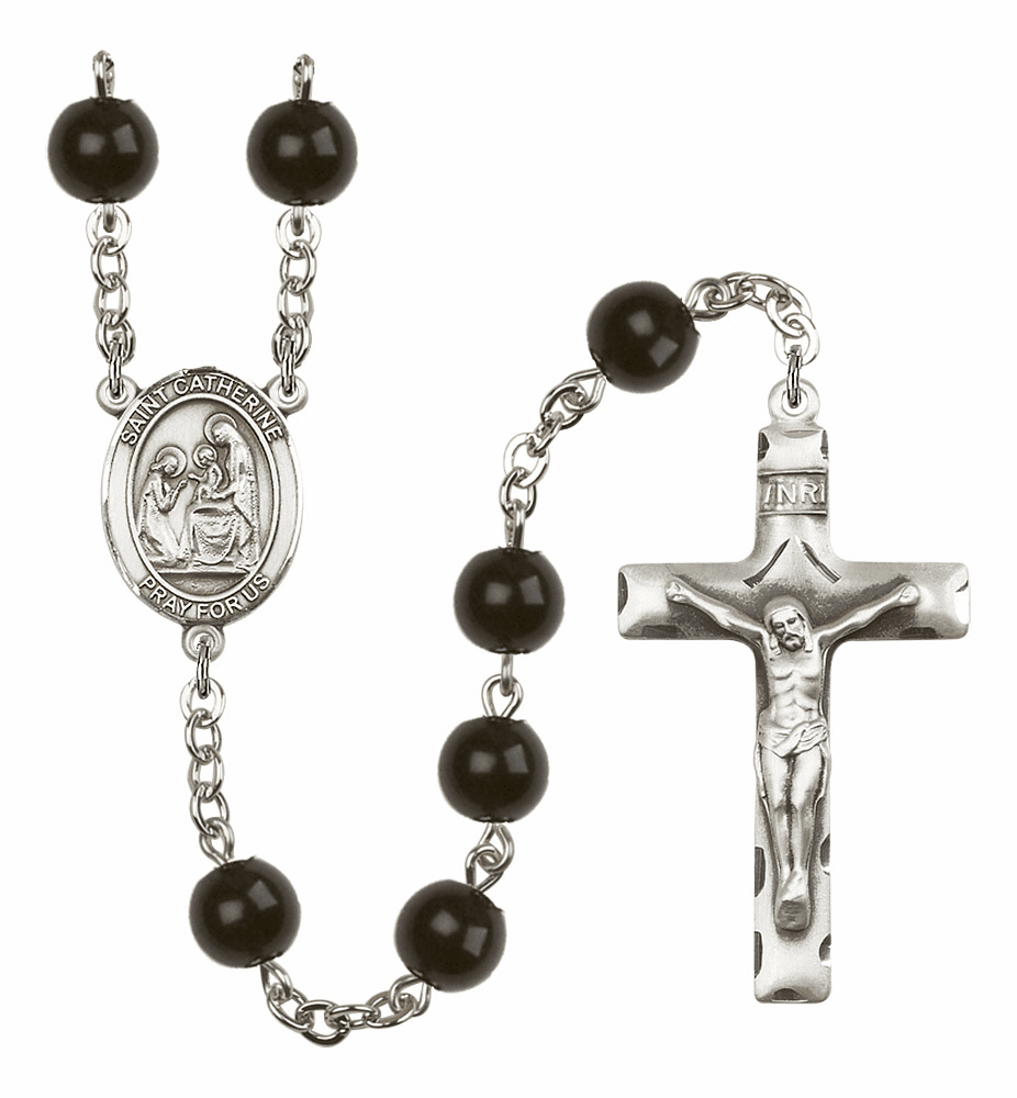St Catherine of Siena Silver Plate 7mm Black Onyx  Prayer Rosary by Bliss