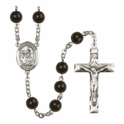 Bliss Mfg St Catherine of Siena Silver 7mm Black Onyx Rosary