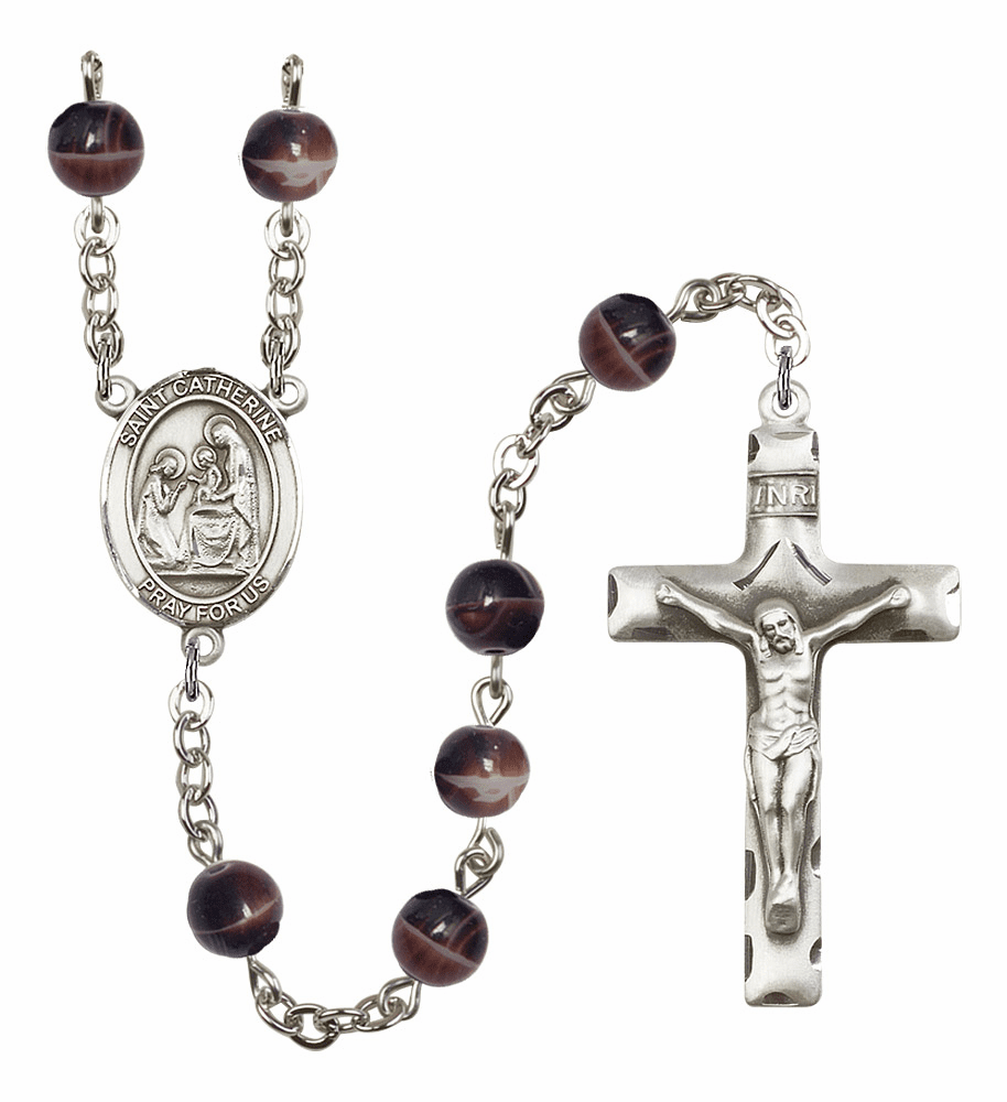 St Catherine of Siena Silver Plate 7mm Brown Gemstone Prayer Rosary by Bliss
