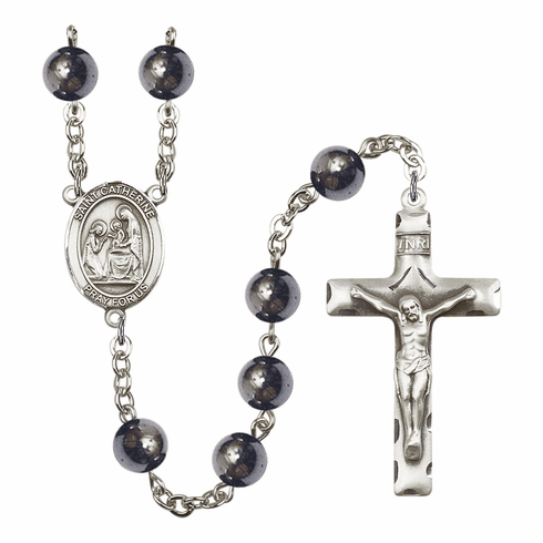 St Catherine of Siena Silver Plate 8mm Hematite Gemstone Prayer Rosary by Bliss