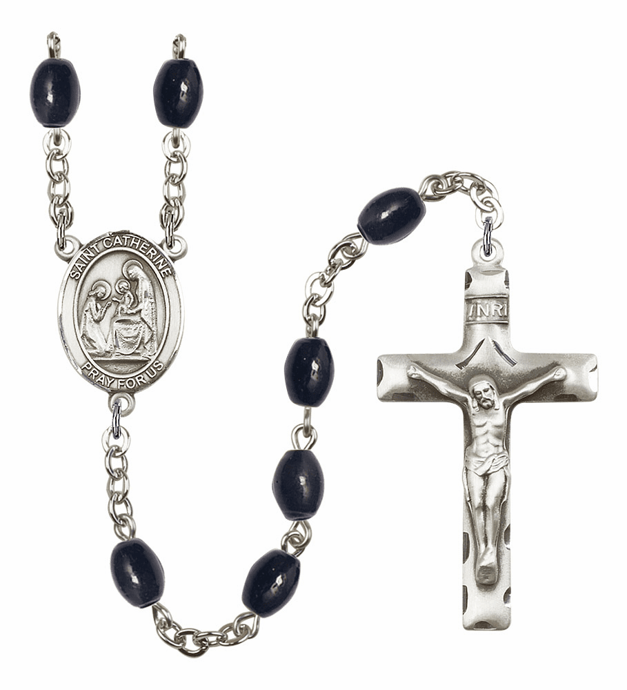 St Catherine of Siena Silver Plate 8x6mm Black Onyx Gemstone Prayer Rosary by Bliss