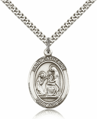 St Catherine of Siena Sterling Silver Saint Medal Necklace by Bliss