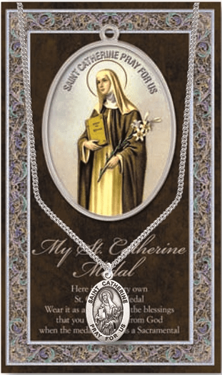 St Catherine Pewter Patron Saint Medal Necklace with Prayer Pamphlet by Hirten