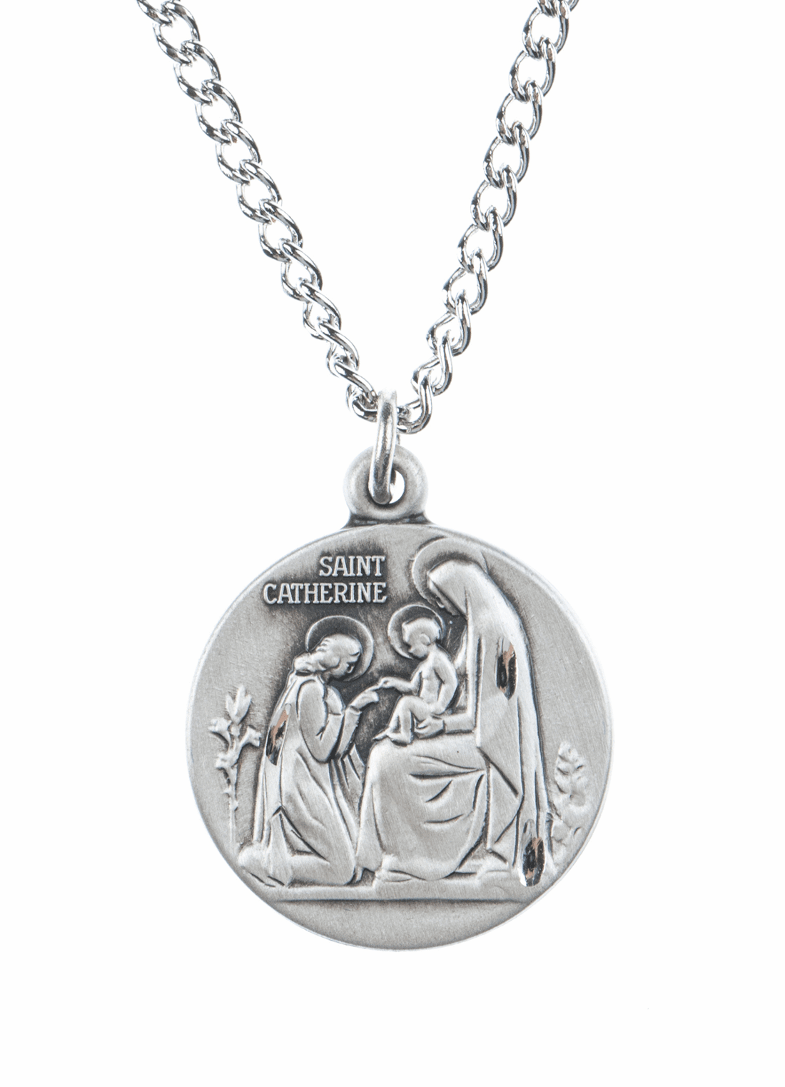 "St Catherine Saint Medal Pendant w/18"" Chain by Jeweled Cross"