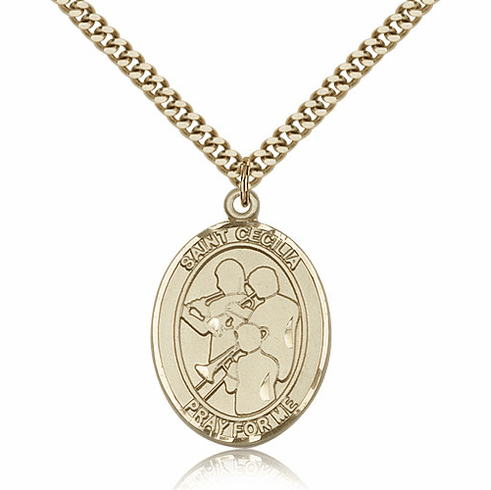 St Cecilia Marching Band 14kt Gold-Filled Saint Pendant by Bliss Mfg